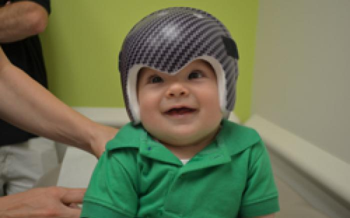 Wyatt in a helmet